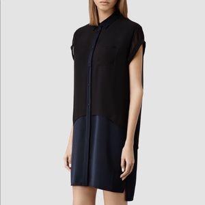 NWOT All Saints Carolee Shirt Dress in Black